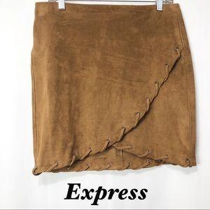 NWT-Express Tan Suede Like braided Mini Skirt M